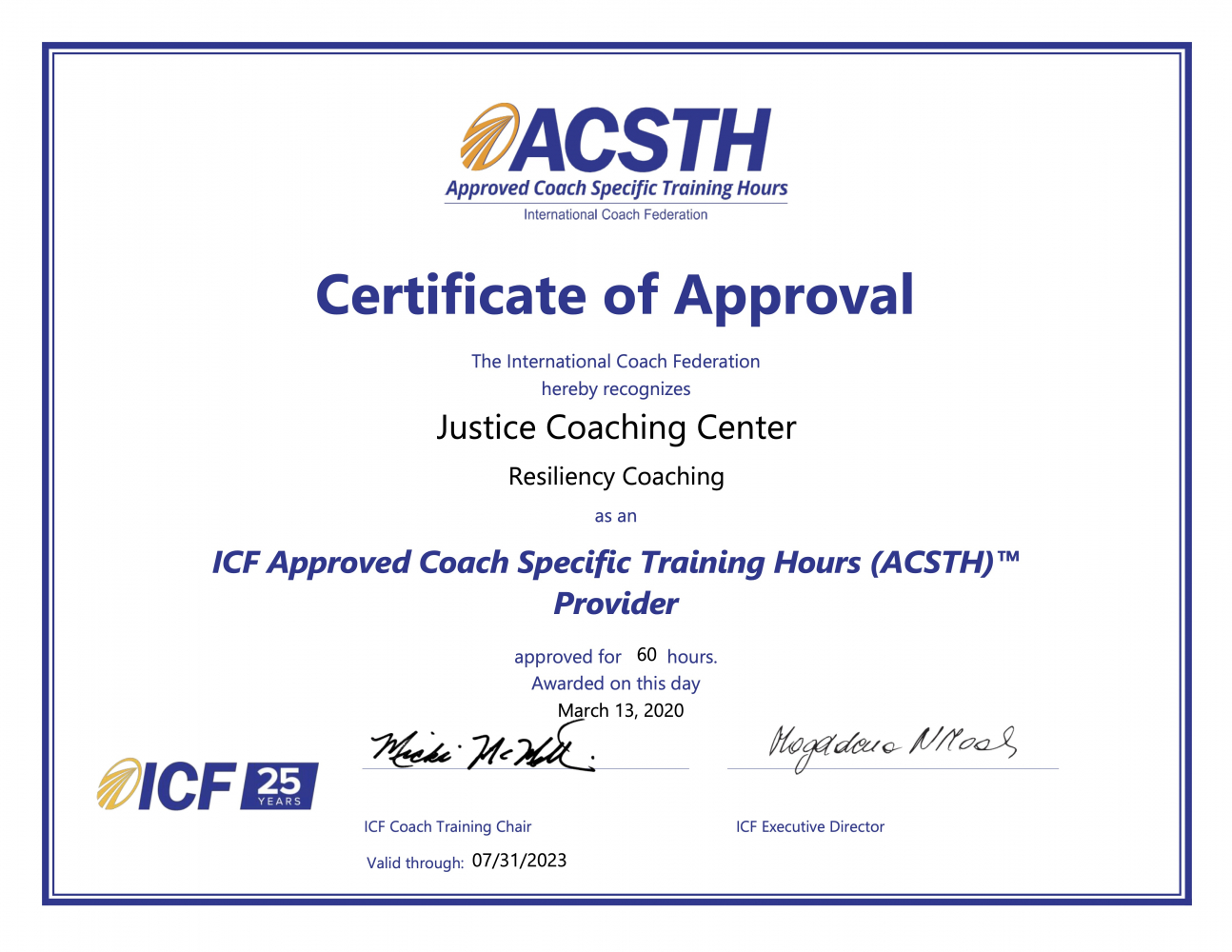 Justice Coaching Center ACSTH Certificate