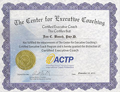 Center for Executive Coaching Certificate for Jan C. Bouch