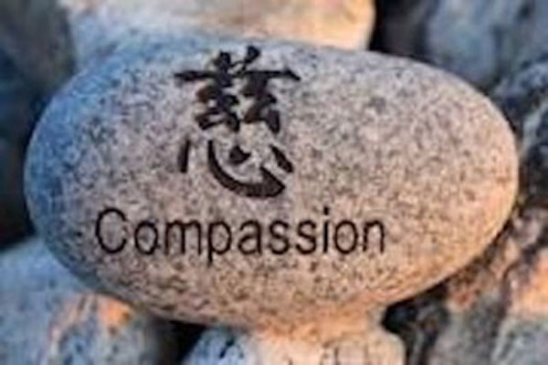 The world compassion written on a river rock